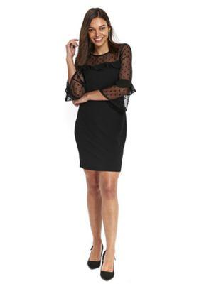 Wallis Petite Frill Spot Mesh Dress 18 Black