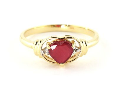QP Jewellers Diamond & Ruby Halo Heart Ring in 14K Gold - Size V