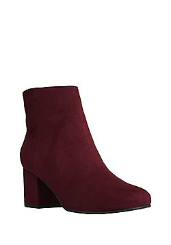 F&F Sensitive Sole Faux Suede Ankle Boots - Burgundy