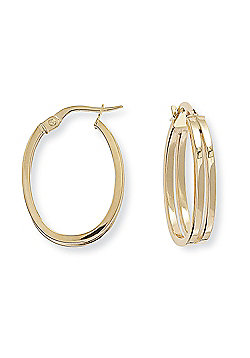 Jewelco London 9ct Yellow Gold - Square Tube Oval Hoop Earrings -