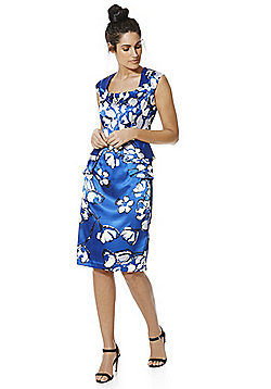 Roman Originals Floral Print Peplum Dress - Cobalt blue