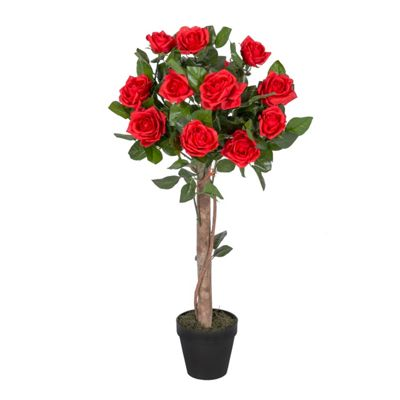 Homescapes Red Potted Rose Tree Artificial Plant, 90 cm