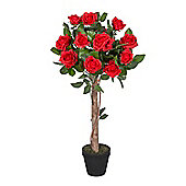 Homescapes Red Potted Rose Tree Artificial Plant, 120 cm