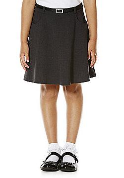 F&F School Girls Flared Soft Touch Premium Skirt with Belt - Grey