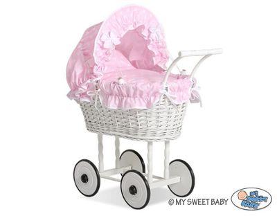 Handmade Girls Dolls Pram White Wicker - Pink