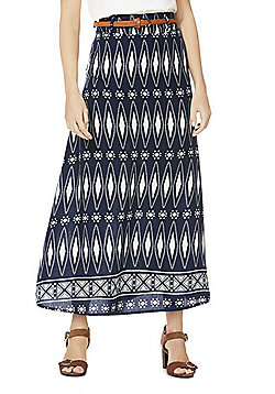 Izabel London Ikat Print Maxi Skirt with Belt - Navy
