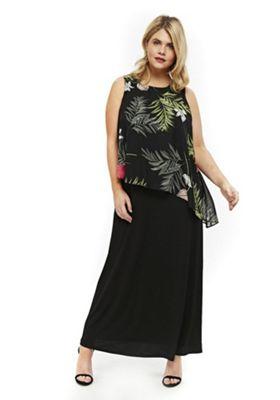 Evans Floral Print Overlay Plus Size Maxi Dress Multi 26-28