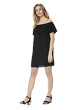 F&F Ruffle Bardot Summer Dress - Black
