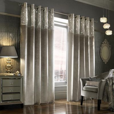 Kylie Minogue 'Esta' Silver Velvet Lined Eyelet Curtains, 90x90