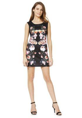 Mela London Floral Placement Print Shift Dress Black 14