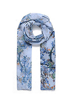 Blue Branch and Blossom Print Scarf