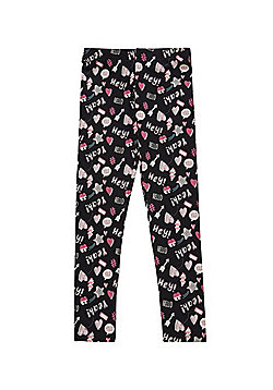 F&F Slogan Print Leggings with As New Technology - Black & Pink