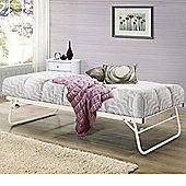 Happy Beds Trundle Metal Guest Bed with Open Coil Spring Mattress - Cream - 3ft Single