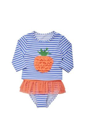 F&F Strawberry Striped Sunsafe Swim Top and Briefs Set Multi White 9-12 months