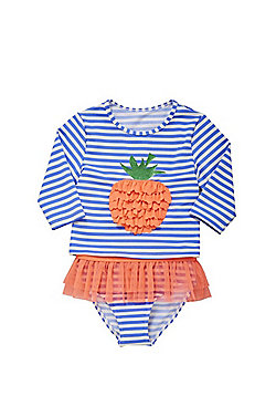 F&F Strawberry Striped Sunsafe Swim Top and Briefs Set - Multi White