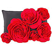 Decorative 3d Rose Cushion - Red / Black