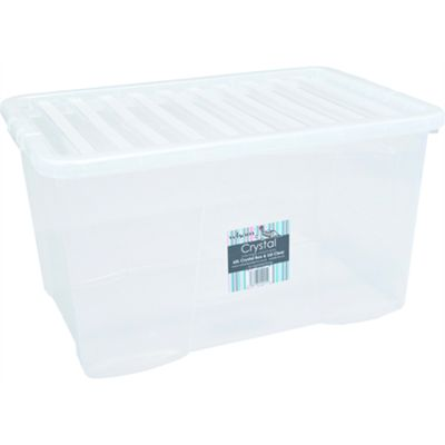 Wham 60L Crystal Box & Lid Clear - Pack of 3