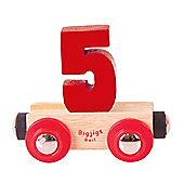 Bigjigs Rail Rail Name Number 5 (Dark Red)