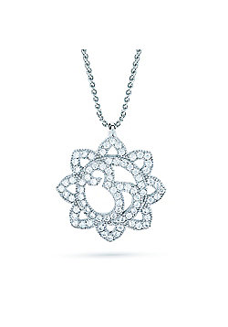 REAL Effect Rhodium Plated Sterling Silver White Cubic Zirconia Crop Circle Charm Pendant - 16/18 inch