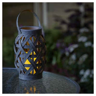 Smart Solar Grey Rattan Battery Operated Lantern