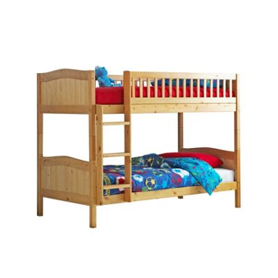 Comfy Living 3ft Single Children's Premium Bunk Bed in Caramel with 2 Basic Budget Mattresses