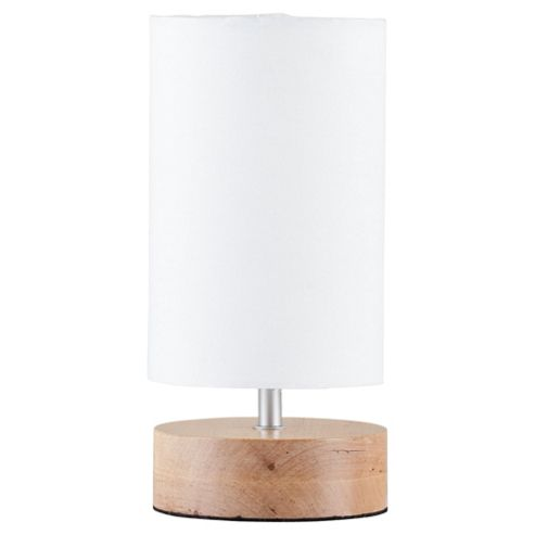 Tesco Lighting Cylinder Wooden Table Lamp Natural