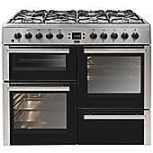 Beko BDVF100X Stainless Steel 100cm Dual Fuel Range Cooker, 2 Ovens, 7 Burners