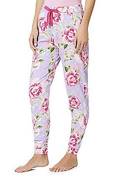 F& Floral Cuffed Lounge Pants - Purple multi