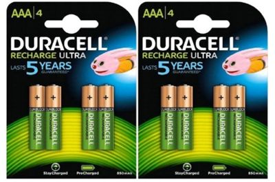 8 x Duracell AAA 850 mAh Rechargeable Ultra Batteries