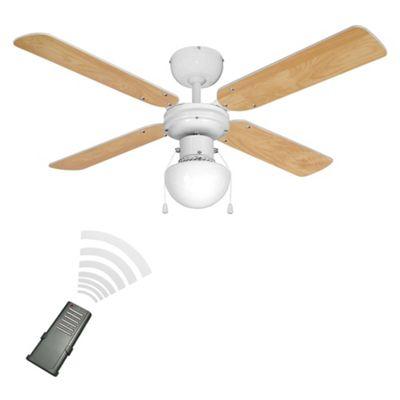 Minisun Nimrod Remote Control 42 Inch Ceiling Fan With Light White