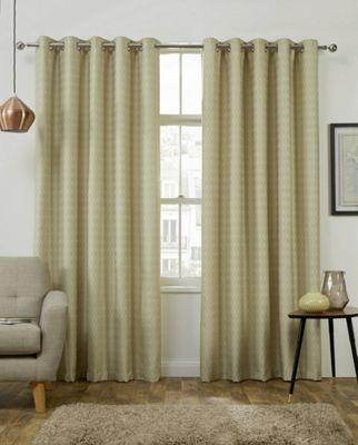 Phoenix Jacquard Citrus - Interlined Eyelet Curtains - 90x90