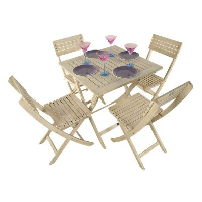 Painted Wooden 4 Seater Square Folding Bistro Set Limed Washed - Outdoor/Garden table and Chair set.