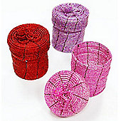 Bead - Set Of 3 Gift / Storage Boxes - Pink / Purple / Red
