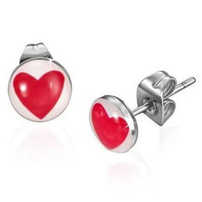 Urban Male Red Heart Playing Card Stainless Steel Stud Earrings 7mm