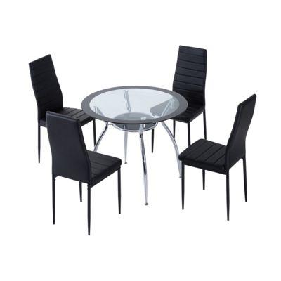 Homcom 5pcs Dining Room Set Modern Furniture Tempered Glass (Black)