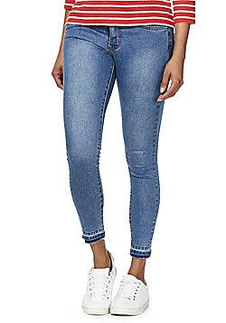 Vila Commit Let-Down Hem Ankle Grazer Jeans - Mid wash