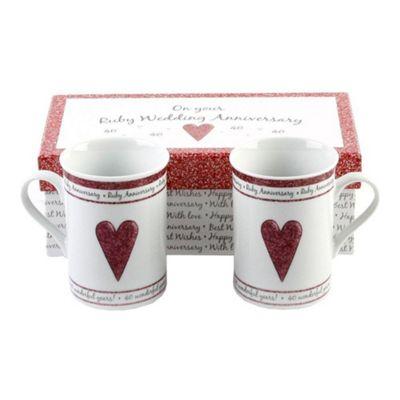 Beautifully Designed 40th Ruby Anniversary Mug Set with Matching Gift Box
