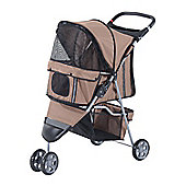 PawHut Pet Travel Stroller Cat Dog Pushchair Trolley Puppy Jogger Carrier Three Wheels (Brown)