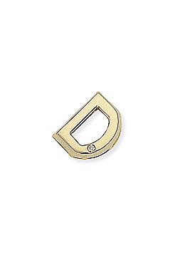 Jewelco London 9ct Yellow Gold - Diamond - D' Initial Charm Pendant -