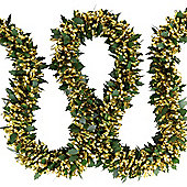 Pre-lit 2m Holly & Gold Tinsel Christmas Light Garland with Warm White LEDs
