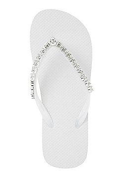 F&F Jewelled Flip Flops - White