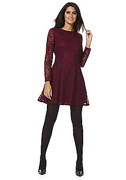 Mela London Lace Fit and Flare Long Sleeve Dress - Burgundy