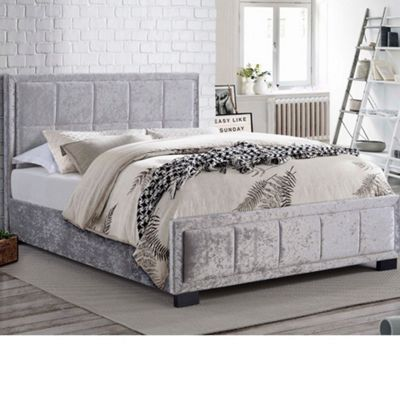 Happy Beds Hannover Crushed Velvet Fabric Low Foot End Bed with Pocket Spring Mattress - Steel - 4ft6 Double