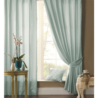 Catherine Lansfield Plain Faux Silk Duck Egg Curtains - 54x46 Inches (116x137cm)