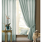 Catherine Lansfield Plain Faux Silk Duck Egg Curtains - Duck egg