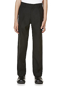 "F&F School 2 Pack of Boys Teflon EcoElite""™ Pleat Front Regular Fit Trousers - Dark grey"