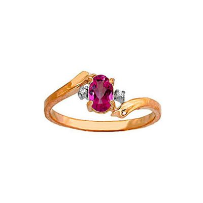 QP Jewellers Diamond & Pink Topaz Embrace Ring in 14K Rose Gold - Size O 1/2