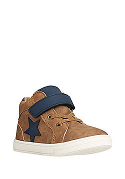 F&F Star Detail High Top Trainers - Tan