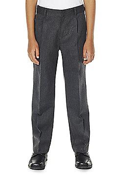 F&F School Boys Pleat Reinforced Knee Trousers - Light grey
