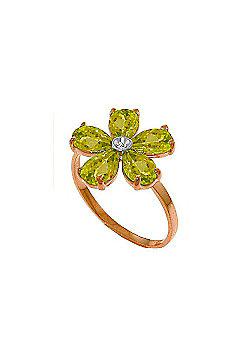 QP Jewellers Diamond & Peridot Foliole Ring in 14K Rose Gold